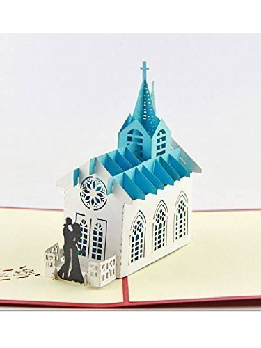 BC Worldwide Ltd handmade origami 3D popup pop up church card.Wedding card invitation,bride groom,marriage,anniversary,gift,greeting card,Valentine's card,papercraft,paperart, engagement card