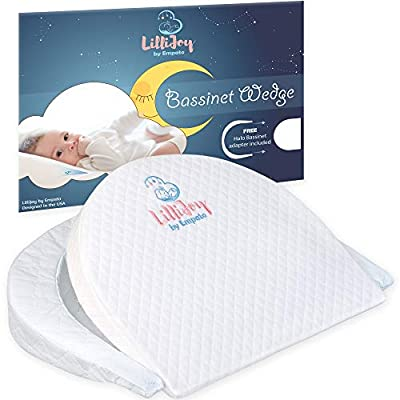 LilliJoy Premium Bassinet Wedge Pillow for Baby | Fits Halo Bassinet | 12? Incline Sleep Positioner for Elevated Head & Torso Support | Anti Reflux Sleeper for Infant or Newborn Colic & Congestion