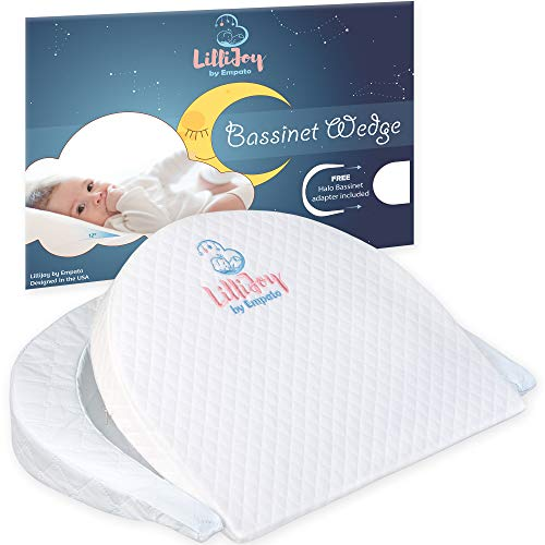 LilliJoy Premium Bassinet Wedge Pillow for Baby | Fits Halo Bassinet | 12 Incline Sleep Positioner for Elevated Head & Torso Support | Anti Reflux Sleeper for Infant or Newborn Colic & Congestion
