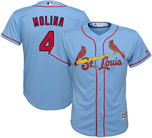 Yadier Molina St Louis Cardials #4 Kids 4-7 Cool Base Blue Alternate Replica Jersey (4)