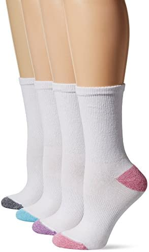 Hanes Women s 4 Pack Sport Cool Comfort Crew White Pink Assortment Shoe Size 5 9 product image