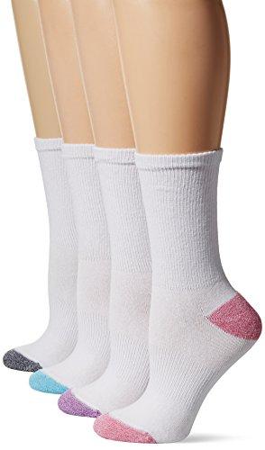 Hanes Women's 4-Pack Sport Cool Comfort Crew, White/Pink Assortment, Shoe Size: 5-9