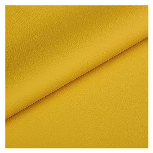 NIANTONG Tela de Polipiel por Metros Amarillo/Naranja 140x100cm Tela de Tapicería de Cuero Sintético Impermeable para Manualidades, Muebles, Fundas de Asientos(Color:Amarillo)