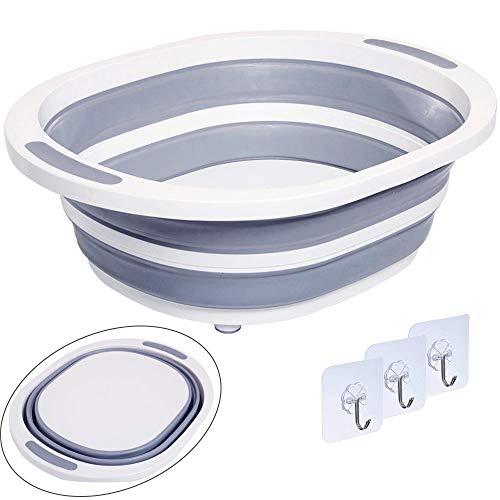Qualsen 折りたたみ タブ コンパクトにたためる バケツ 洗い桶 安定性と簡単な折りたたみ方 説明書付き(1個)