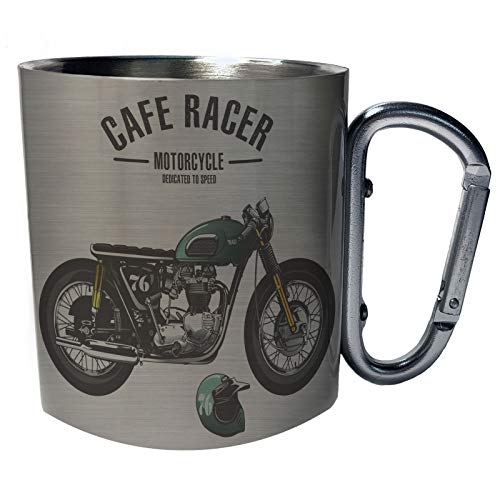 Nuevo fondo verde de la moto Taza de viaje mosquetón de acero inoxidable 11oz h325c