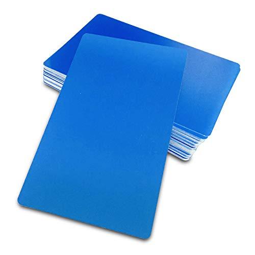 Ebamaz Visitenkarten, blanko, 0,45 mm, Aluminium, matt, Schwarz, 50 Stück 86 X 54 X 0.45 MM Blau, blanko