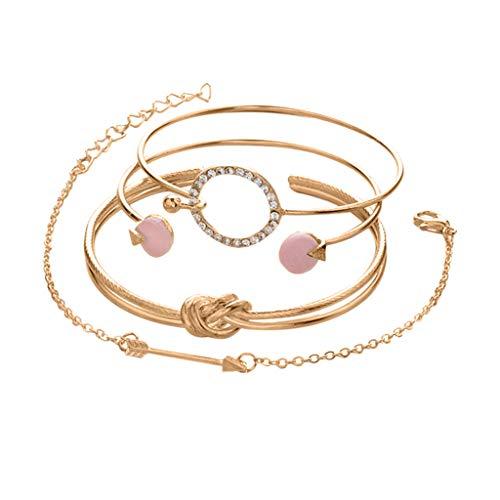 Janly Clearance Sale Pulseras para mujer, 4 juegos de pulseras simples de personalidad femenina, anillo anudado círculo de pulsera, joyería y relojes para Navidad, día de San Valentín (oro)
