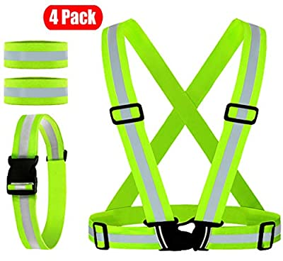 Reflective Vest, Reflective Glow Belt with 2Pack Reflector Armbands, Adjustable Elastic Safety Vest Outdoor Reflective Belt High Visibility, Ultralight & Comfy for Running, Jogging, Walking, Cycling,