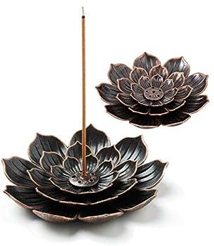 MWY Brass Incense Sticks Holder Lotus Incense Burner for Home Fragrance Decor Aromatherapy Ornament (2pcs)