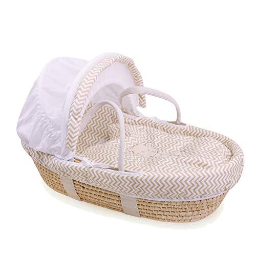 GOUO@ Baby Moses Korb Neugeborenen Schlafkorb Tragbare Auto Wiege Baby Tragbare Korb Stroh Baby Wiege Bett FüR 0-8 Monate