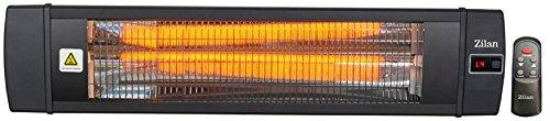 Karbon Heizstrahler | Terrassenstrahler | Heizgerät | Infrarotstrahler | Karbonstrahler | 2000 Watt | Display | Karbonlampe | Timer | Fernbedienung | Spritzwasser geschützt | Überhitzungsschutz