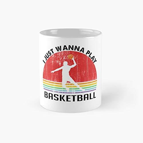 I Just Wanna Play Basketball - Taza clásica retro con diseño de atardecer (11 onzas)