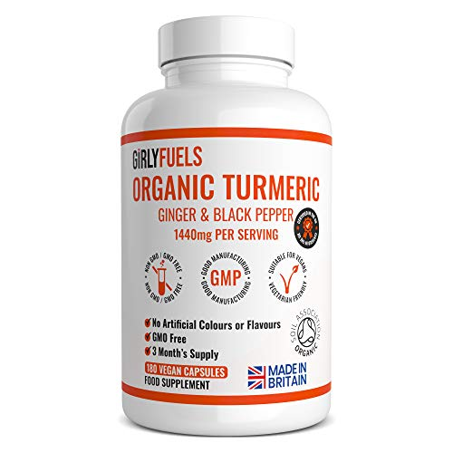 Organic Turmeric Curcumin 1440mg with Black Pepper & Ginger - 180 Vegan Turmeric Capsules High Strength (3 Month Supply) – Certified Organic by Soil Association - Made in The UK by GirlyFuels