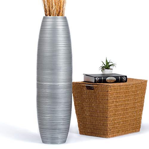 Leewadee Grande Vaso da Terra per Rami Decorativi Vaso Alto da Interno 90 cm, Legno di Mango, Argento