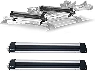 CRC SnowPack Roof Mounted Ski/Snowboard Carrier, Fits 6 Pairs Skis, Snowboard Car Rack fits 4 Snowboards, Ski Roof Carrier