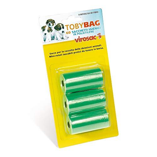 Virosac - Tobybag - Sacchetti Igienici ideali per la raccolta delle deiezioni del cane. 60 sacchetti 22x32 cm