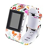 Newest Colorful Flower fitbit Surge Bands,Soft Silicone Band with Metal Buckle Bracelet Strap Replacement Band for Women Men Girls Replacement Accessories Fitness Wristband Sport (L, powder flower)
