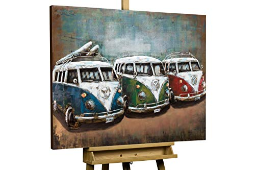 KunstLoft Vivid Metal 3D Relief Image 'Good Old Times' 39x30x2inches | Large hand-crafted wall decoration | brown VW camper vans | Contemporary wall art design picture mural