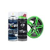AutoFullCar - Pack Full Dip Bicicleta - 2 Spray (Color + Barniz Protector) - Vinilo Líquido FullDip - Cuadro Ruedas Bicicleta   Mountain Bike MTB (Verde Lima, Brillo)