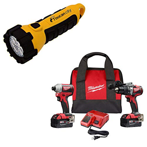 Toucan City LED Flashlight and Milwaukee M18 18-Volt Lithium-Ion Brushless Cordless Compact Hammer Drill/Impact Combo Kit (2-Tool) with (2) 4.0Ah Batteries, Bag 2893-22