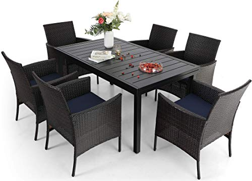 Sophia & William Outdoor Patio 7 Pieces Dining Set with 6 PE Rattan Chairs and 1 Expandable Rectangle Metal Table, Modern Outdoor Furniture with Seat Cushions for Poolside, Porch, Patio, Backyard