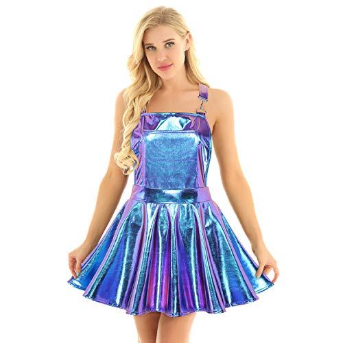 iEFiEL Damen Leder Lackkleid Latzkleid Schürze mit Tasche Rückenfrei Minikleid A-Linie Gefaltet Faltenrock Metallic Partykleid Fasching Karneval Kostüme Blau Medium