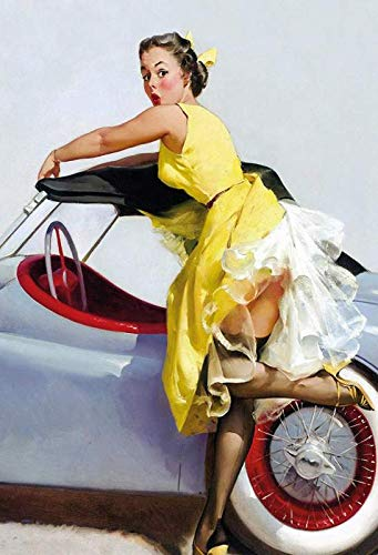 Metalen bord Pinup Girl in gele jurk aan Caprio wit tin Sign 20x30cm