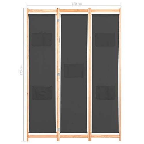 Tidyard 3-teiliger Raumteiler Grau 120 x 170 x 4 cm Stoff Holz Paravent Trennwand Umkleide Sichtschutz Spanische Wand Raumtrenner Stellwand Klappbar