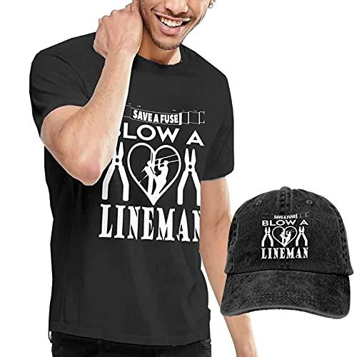 Lineman Save A Fuse - Blow A Lineman Men's Casual Short Sleeve T-Shirt Suit and Adjustable Cowboy Hats Headgear