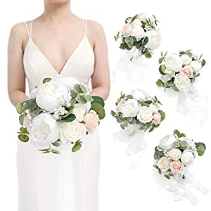 Ling's moment White&Eucalyptus Greenery 7 Inch Artificial Flower Wedding Bouquet for Bridesmaids,Set of 4,Bouquets for Bride,Wedding Arch Flowers,Bridal Shower,Centerpiece,Wedding Ceremony Anniversary