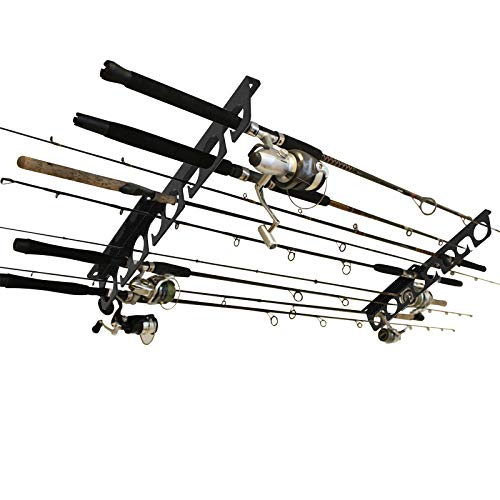 Fishing Pole Wall/Ceiling Mount Storage Rack Heavy Duty Fishing Rod Rack 16 inches Holds up to 8 Fishing Rods