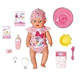 Baby Born Soft Touch Niña 43cm con Chupete Mágico - Muñeca Realista con Funciones Realistas - Suave al Tacto, Articulaciones Móviles - Come, Duerme, Llora y USA la Bacinica - 11 Accesorios - Rosa