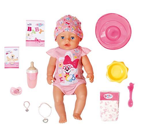 BABY Born 827956 Soft Touch Girl 43cm mit magischem Schnuller - Realistische Puppe mit lebensechten Funktionen - Weich im Griff, bewegliche Gelenke - isst, schläft, weint - 11 Accessoires - rosa