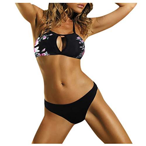 Bikini-Sets Damen, Geteilter Badeanzug Frauen Openwork Geblümte Schwimmanzug Push-Up Bikinioberteile Bikinihosen Badeanzüge Zweiteiler Sexy Bademode Swimsuit Swimwear Bekleidung (Schwarz A, XL)