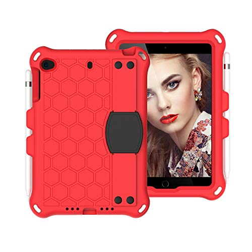 JIANWU Cover, For For Kids Case for iPad Mini 5 4 3 2 1,Lightweight and Full-Body Shockproof EVA+PC Tablet Case,Rugged Duty, Shockproof,Hand Grip, Shoulder Strap (Color : Red+Black)