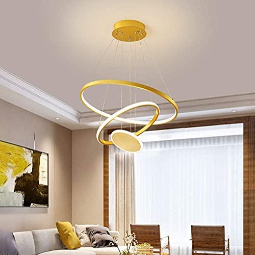 yanzz Lámpara Colgante de Techo LED Regulable con lámpara Colgante de Control Remoto 37W Lámpara de acrílico de diseño Redondo Dorado Creativo Moderno para Cocina Isla Bar Café Comedor Mesa Sala d