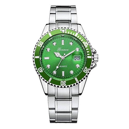 Keepwin Herren Damen Geschäft Uhren Mode Wasserdicht Digitaler Kalender Analoge Quarzuhr Edelstahl Zahnradform-Zifferblatt Armbanduhr (Grün)