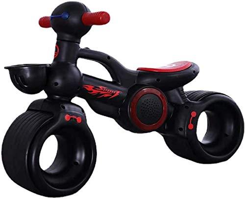 LRBBH Bicicleta de Equilibrio, sin Pedalear Bike Bike Bike Training Bicycle, Adecuado para Niños de 1 a 3, con Luces de Música,Negro