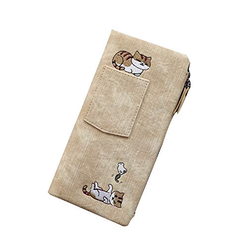 E-House Leuke Kat Cartoon Lange Portemonnee voor Vrouwen Mode Dames Cartoon Kat Mobiele Telefoon Tas Kaart Tas Canvas Rits Pocket Coin Card Houders, 7.68