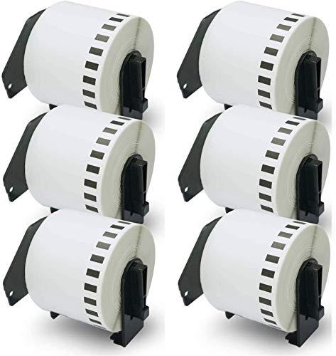 Compatible para DK-2205 Longitud continua 2-3 / 7 pulgadas x 100 pulgadas (62 mm x 30.48m) Etiquetas de repuesto, compatibles con impresoras de etiquetas QL (6 rollos con marco de cartucho recargable)