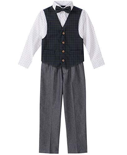 Nautica Boys' Little 4-Piece Set with Dress Shirt, Bow Tie, Vest, and Pants, green tartan, 4