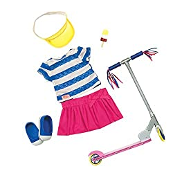 Scooting is the most fun way to get around! Your doll will look super cute in this summery outfit and scooter as they head out on adventures SUITABLE FOR: Children aged 3 to 10 years old ready to scoot off on an adventure WHAT'S IN THE BOX: This outf...