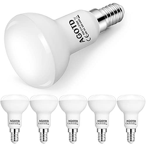 AGOTD E14 LED Lampe R50 Reflektorlampe Warmweiß 2700K, 6W ersetzt 50W Glühbirne Nicht Dimmbar, 120° Abstrahlwinkel, 6er Pack