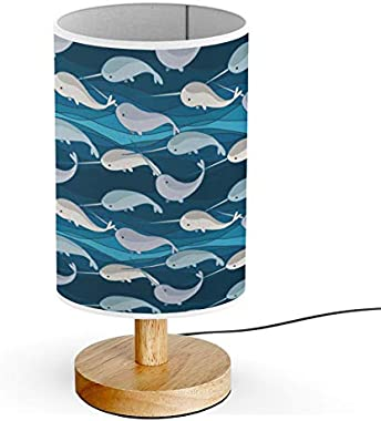 ARTSYLAMP - Wood Base Decoration Desk Table Bedside Light Lamp [ Playing Narwhals On Wave ]