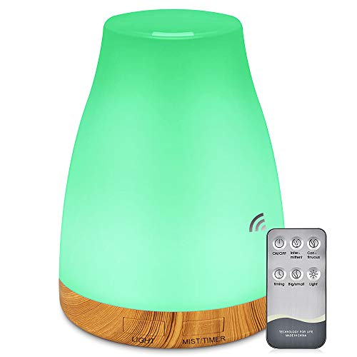 Essential Oil Air Mist Diffuser - 300ML Quiet Aroma Essential Oil Diffuser Cool Mist Humidifier Waterless Auto-off 7 Color Changing Diffuser For Office Home Bedroom Living Room (wood)