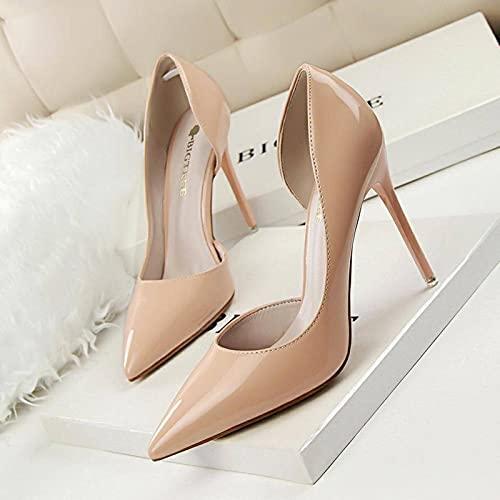 NC Tacones Altos para Mujer Zapatos de Oficina Elegantes de Cuero Puntiagudo...