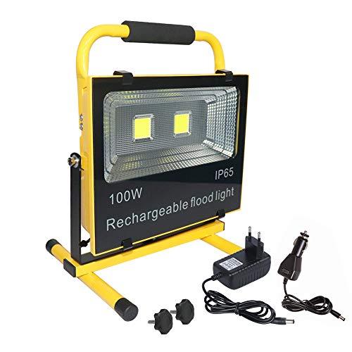 aufun LED bouwlamp LED spotlight accu werkschijnwerper campinglamp vissen verlichting outdoor lantaarn werkplaats schijnwerper geel waterdicht IP65 [energieklasse A ]