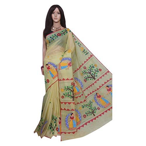 Village Bengal 158a - Pintura de seda a mano, color beige
