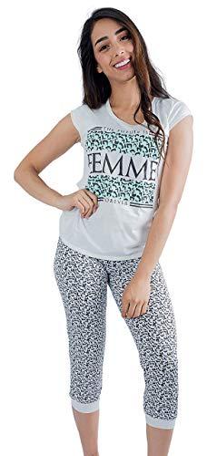 Lunachi Nightwear Women Pajamas Set Capri & Tee (Large, Beige-Menta)