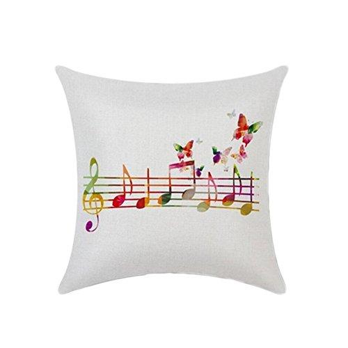 good01 élégante Notation Musicale Motif Couvre-lit Housse de Coussin Canapé Voiture Taie d'oreiller, Lin, Couleur 1#, Taille M